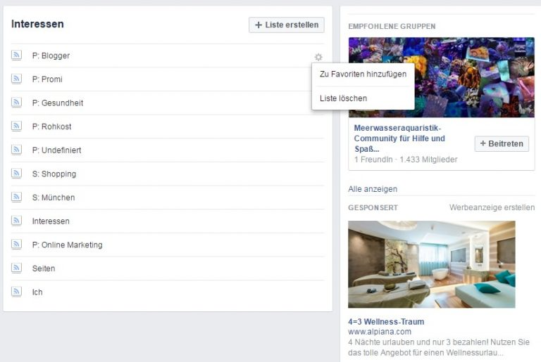 Facebook Interessen Liste