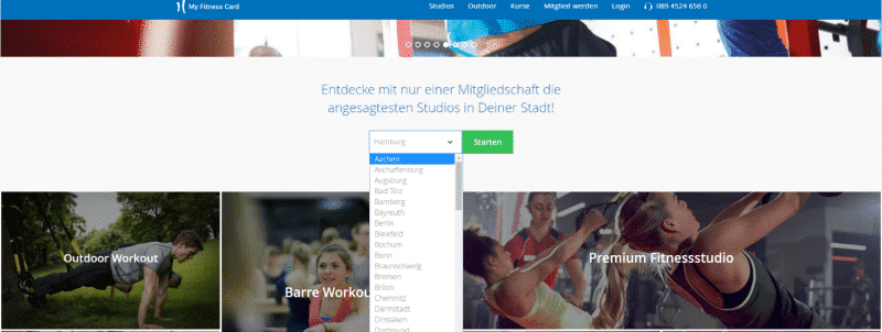 My Fitness Card - Städteauswahl